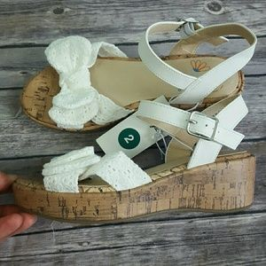 Cat /& Jack Youth Girls Angelene Cork Wedge Sandals White Size 2 4 NEW 3